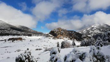 El poble abandonat de Peguera, des de Rasos de Peguera