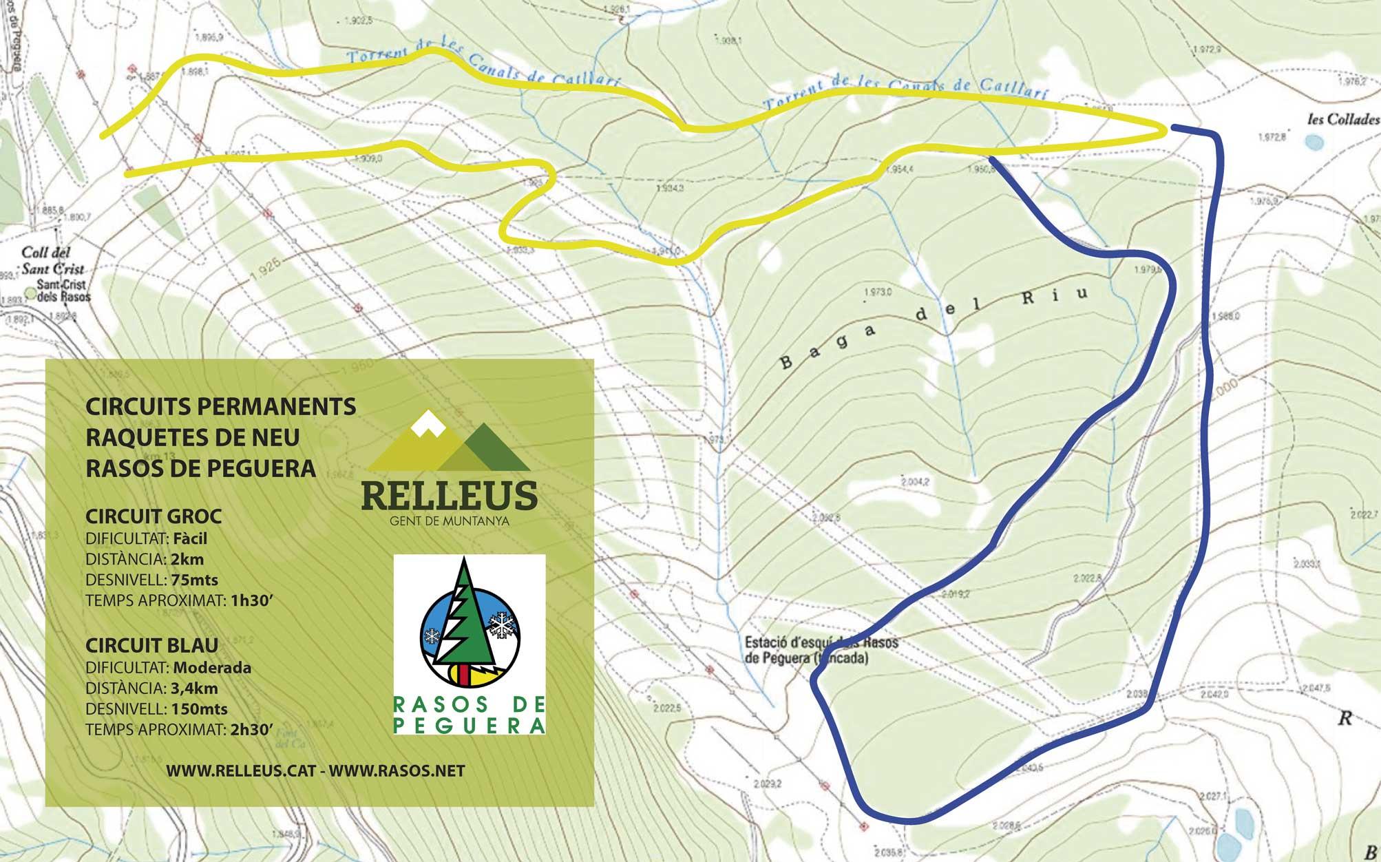 Mapa dels diferents itineraris per a raquetes de neu a Rasos de Peguera