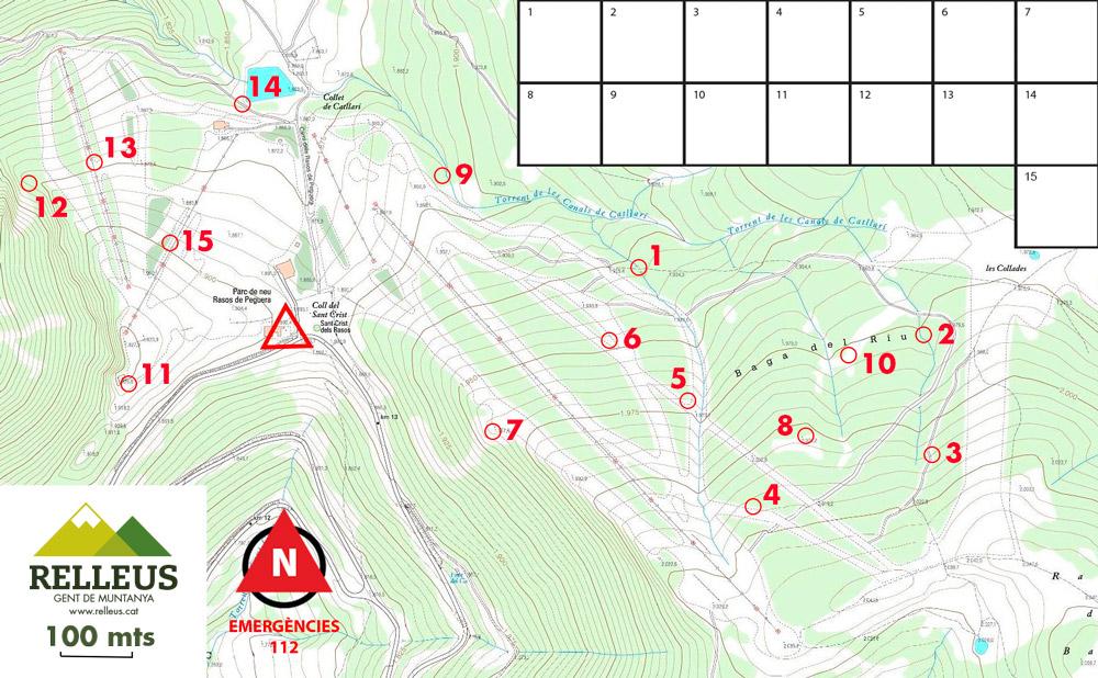 mapa circuit orientació en família Rasos de Peguera, el Berguedà